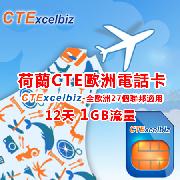 CTE荷蘭歐洲行上網電話卡(1GB上網流量)